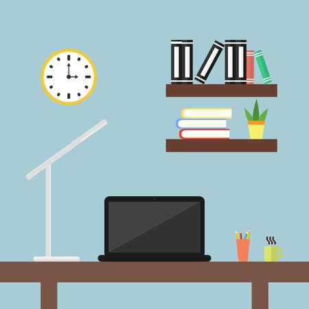 Un escritorio con una computadora portátil y una lámpara de escritorio en la oficina. Iconos de diseño plano Ilustración de vector