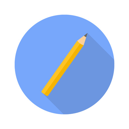 Pencil flat icon with shadow for web design on white background Banque d'images - 124935815