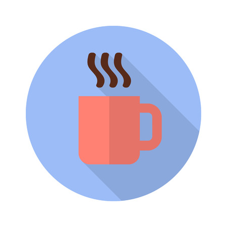 Cup with hot drink flat icon with shadow on white background Иллюстрация