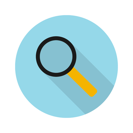 Icon magnifying glass with shadow. Flat sign on a white background. Illustration