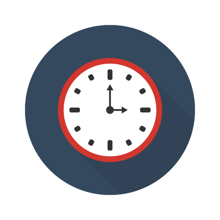 Clock icon with a shadow. Flat sign on a white background. Illustration