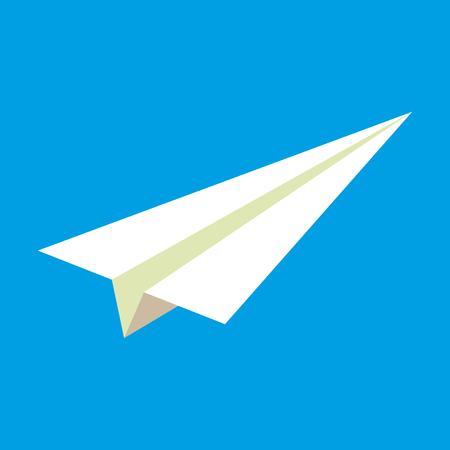 avión de papel sobre fondo azul icono de ilustración Ilustración de vector