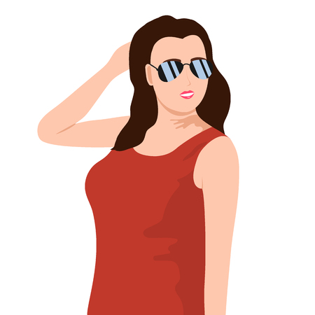 Young beautiful girl in sunglasses. People icon on white background 矢量图像