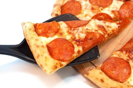 Pepperoni pizza with spicy sausage and cheese