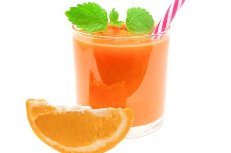 Refreshing smoothie made from orange and apple carrots for a detox healthy diet Banco de Imagens