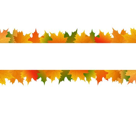 Autumn maple leaf on a white background and banner