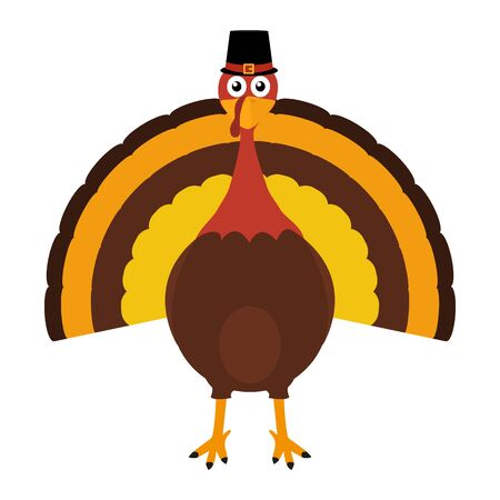 Turkey Pilgrimin on Thanksgiving Day vector illustration