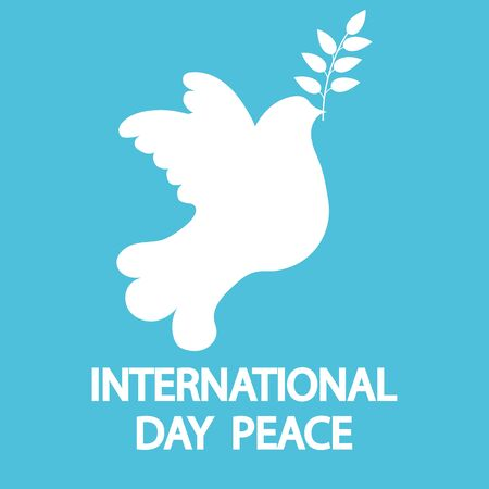Dove with a tree branch for International Peace Day holiday. Vectores