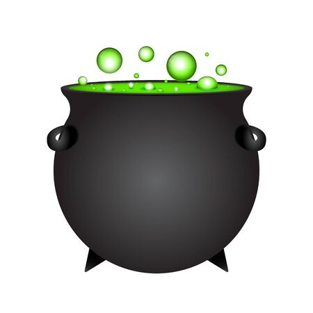 Halloween witch potion in pot isolated on white