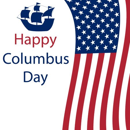 Happy Columbus Day in America. Flags on a white background