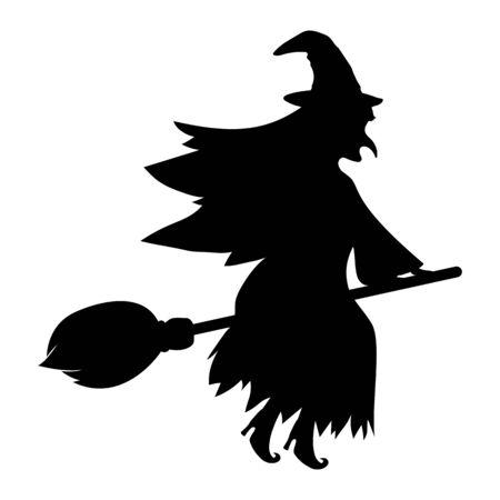 Bruja con un gato en una escoba para Halloween aislado en blanco