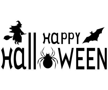 Happy Halloween text logo. cartoon vampire and bats Design element for poster