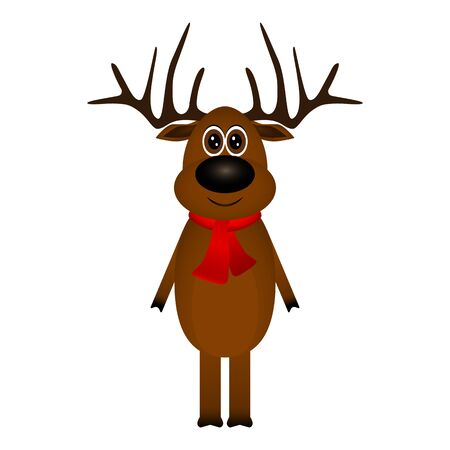 Funny reindeer in a scarf for christmas smiling Stock Illustratie