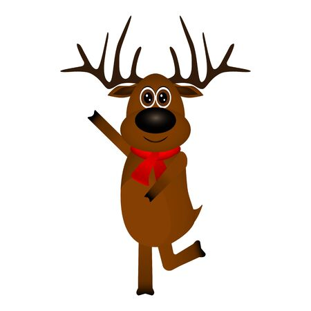 Funny reindeer in a scarf for christmas smiling on a white background