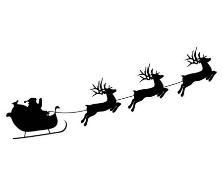 Les rennes de Noël portent le Père Noël dans un traîneau avec des cadeaux.