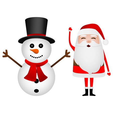 Cartoon funny santa claus and snowman waving hands isolated on white