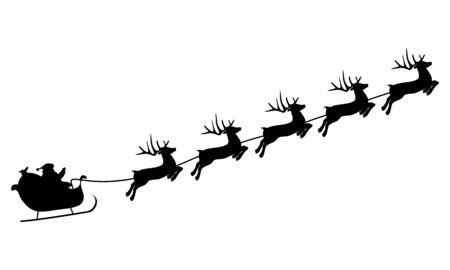 Weihnachtsrentiere tragen den Weihnachtsmann in einem Schlitten mit Geschenken. Silhouette auf einem weißen