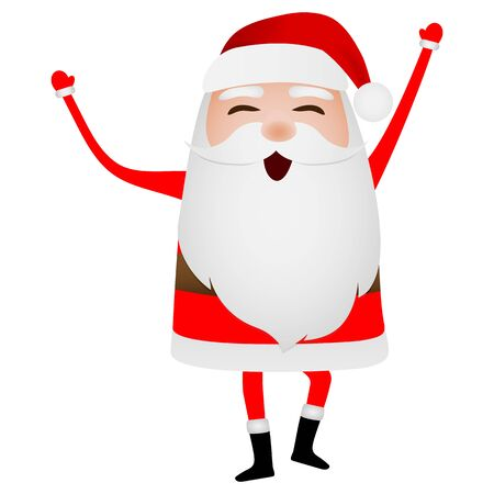 Cartoon funny santa claus waving hand isolated on white