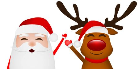 Cartoon funny santa claus and reindeer waving hands isolated on white