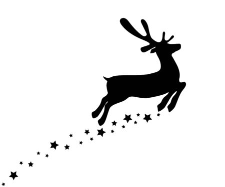 Reindeer is skipping for Christmas. Icon isolated on white Reklamní fotografie - 135069175
