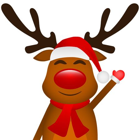 Funny reindeer in a scarf for christmas smiling on a white