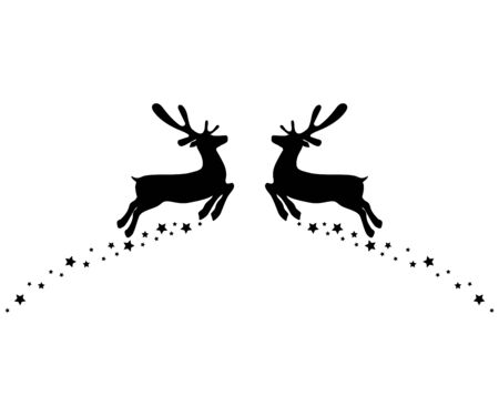 Two reindeers jump to each other with stars isolated on white