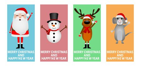 Santa Claus, Christmas reindeer with a snowman and a mouse