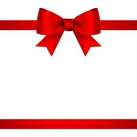 Red bow for gift and greeting card isolated on white