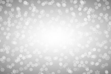 Weihnachtssilber glänzender Hintergrund mit Schneeflocken und Linse