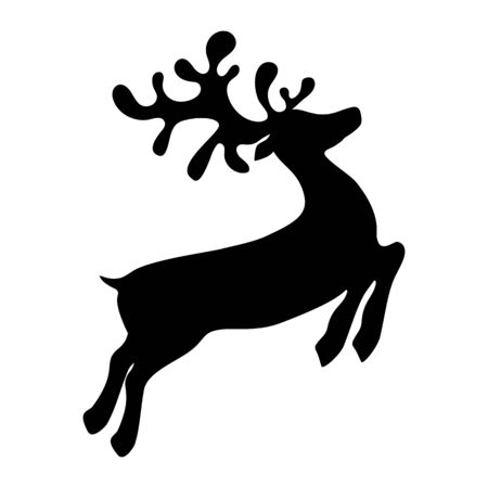 Reindeer is skipping for Christmas. Icon isolated on white Reklamní fotografie - 135248562