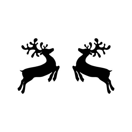 Two reindeers on a white background jump to each other for Christmas. Icon Ilustração