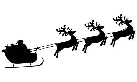 Weihnachtsrentiere tragen den Weihnachtsmann in einem Schlitten mit Geschenken. Silhouette auf weißem Hintergrund