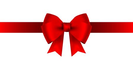 Red bow for gift and greeting card isolated on white background