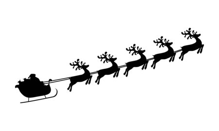 Christmas reindeers are carrying Santa Claus in a sleigh with gifts. silhouette on a white background Ilustrace