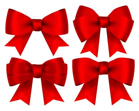 Collection of red shiny bows for design isolated on white
