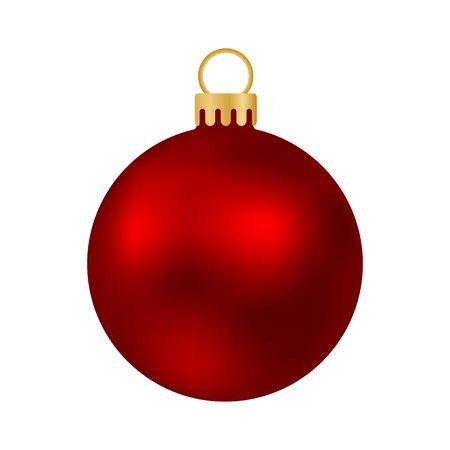 Rote Weihnachtskugel isoliert auf weiß Vektorgrafik