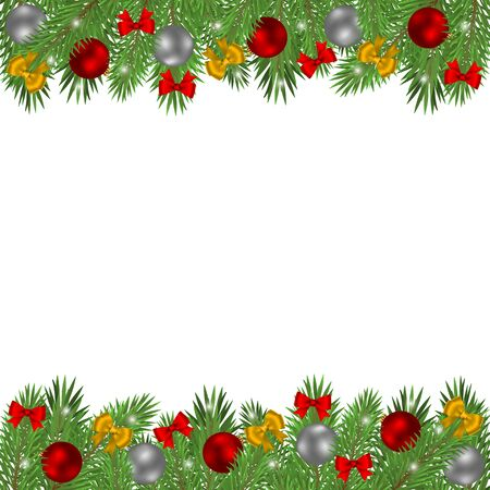Christmas tree branches decorated with balls and red bows isolated on a white background. Ilustração Vetorial