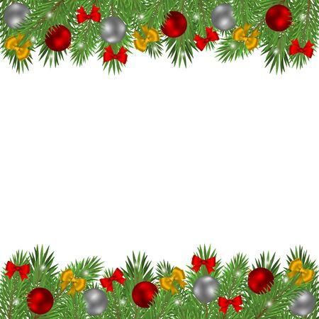 Weihnachtsbaumzweige verziert mit Kugeln und roten Schleifen lokalisiert auf einem weißen Hintergrund. Vektorgrafik