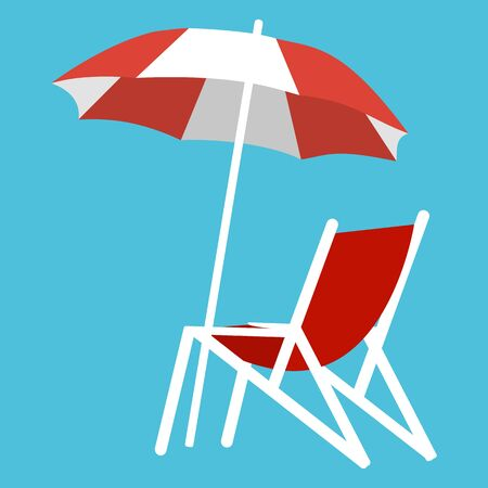 Deck chair and umbrella on the background of the sea and white sand on the beach.