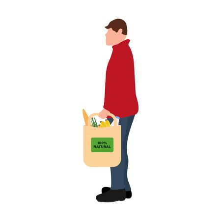 Man with food purchases. Flat design vector illustration. Consumer set in a package isolated on white background
