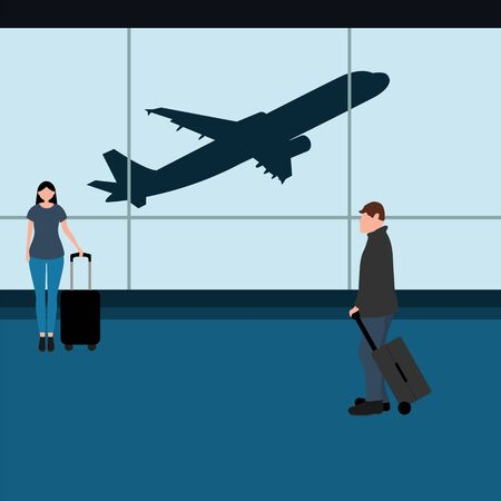 Man with woman tourists travelers with a suitcase at the airport waiting for the plane. Cartoon flat design, vector illustration. Ilustrace