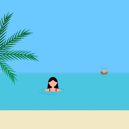 Young woman swims in the sea on the azure coast. Cartoon vector illustration, flat design.  イラスト・ベクター素材
