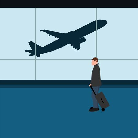 Male tourist with a suitcase at the airport waiting for the plane. Cartoon flat design, vector illustration. Ilustrace