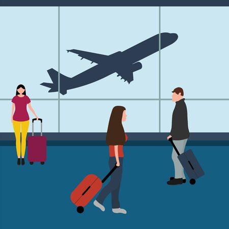 Man with woman tourists travelers with a suitcase at the airport waiting for the plane. Cartoon flat design, vector illustration. Reklamní fotografie - 137840856