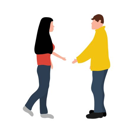 Man and woman greet each other while greeting. Cartoon man and woman isolated on white background