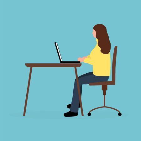 Woman sitting working at a laptop. Cartoon vector illustration, flat design