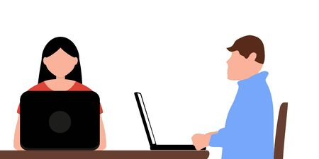 Man and a woman work in an office behind laptops isolated on a white background. Cartoon flat design, vector illustration 向量圖像