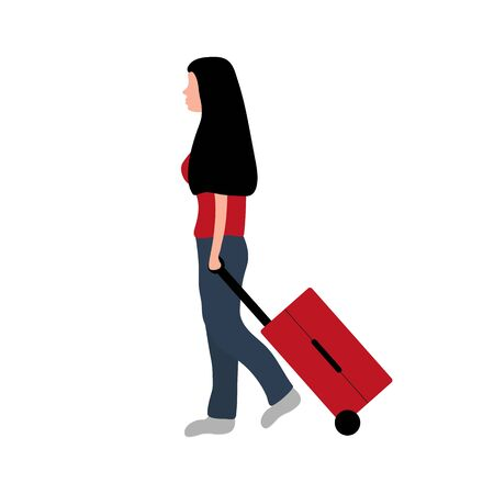 Woman tourist with a suitcase goes on a trip on vacation. Flat cartoon design, vector illustration. Banque d'images - 137954627