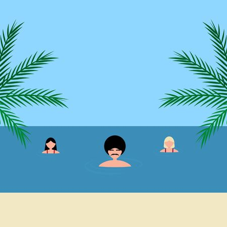Young women and man girlfriends swim in the sea on the azure coast. Cartoon vector illustration, flat design