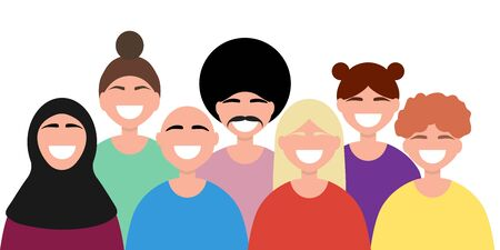 Friendship of the peoples of the world. Men from different countries and women flat design isolated on white. Cartoon Vector illustration Illustration